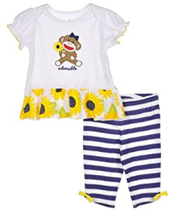 "Sock Monkey ""Sunflower Adorable"" 2-Piece Outfit"