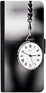 Snoogg Vintage Pocket Clock Graphic Snap On Hard Back Leather + Pc Flip Cover...