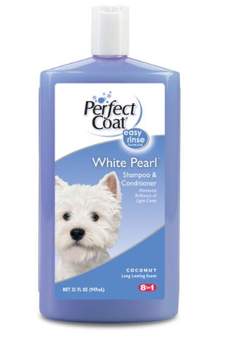 8 in 1 Perfect Coat White Pearl Shampoo & Conditioner for Dogs, 32 Ounce Bottle, Coconut Scent
