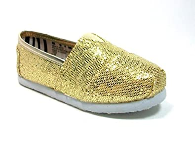 New Little Toddler Girls Gold Glitter Slip on Designer Inspired Shoes