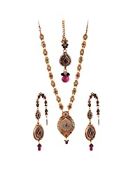Ganapathy Gems 1 Gram Gold Plated Traditional Necklace Set With Mangtika