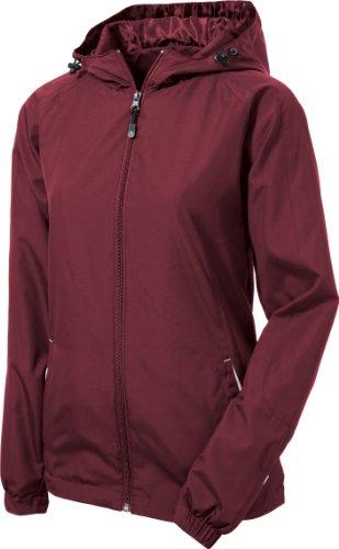 Sport-Tek - Ladies Colorblock Hooded Windbreaker Jacket. Lst76,Xx-Large,Maroon / White front-726938