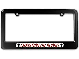 Christian On Board - Religious License Plate Tag Frame - Color Gloss Black