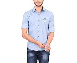 A La Mode Men's Blue Oxford Chambray Sports Cotton Shirt