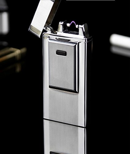 Windproof Flameless Electronic Pulse Arc Cigarette Lighter USB Charging Cigar Lighter Rechargeable No Gas Souvenir gentlemen Cigarette Lighter metal lighter novelty torch lighter-Silver