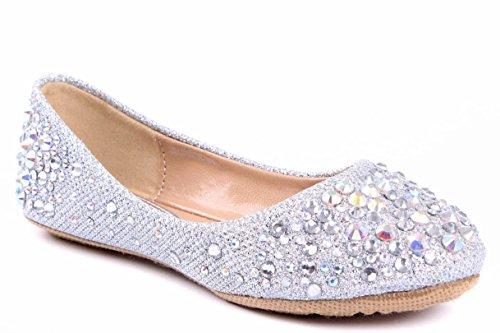 Girls Silver Slip-on Rhinestone Ballet Flats Shoes - Elsa FROZEN