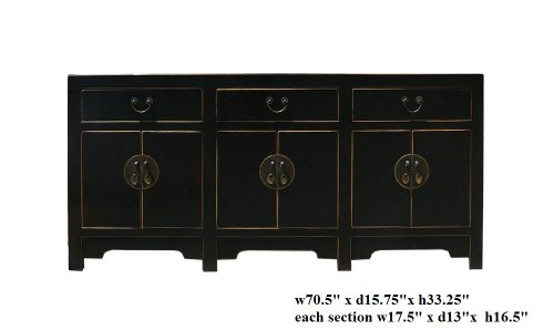 Black Lacquer Moon Face Console Buffet Sideboard Ass498
