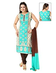 Ritu Creation Women's New Silk Straight Stitched Chudidar Suit With Top Embroided Work(Blue With Beige)