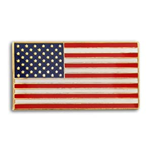 Rectangle Patriotic American Flag USA Lapel Pin