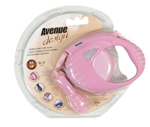Avenue Design Retractable Tape Leash for Dogs, Pink, X-Small, 10 Feet