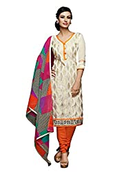 Fashions World Fancy Off White Chanderi Dress Material