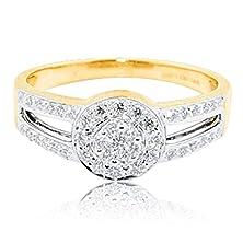 buy 10K Yellow Gold Halo Split Shoulder Bridal Engagement Ring 8Mm Wide(H/I Color 0.33Cttw)