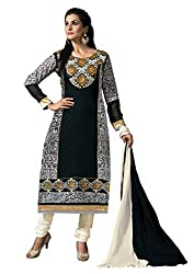 Idha Black Semi-Stitched Printed Salwar Suit For Women