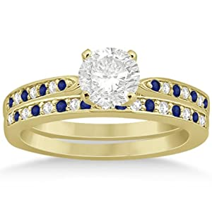 Semi-Eternity Pave-Set Channel Design Blue Sapphire and Diamond Bridal Set in 14k Yellow Gold 0.55ct