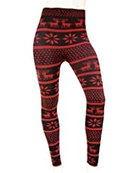 Womens Multi Style Reindeer Knitted Leggings