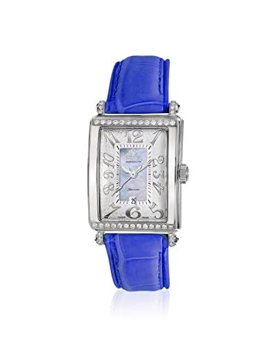 Gevril Women's 6207NT Glamour Light Blue/Mother Of Pearl Leather Watch