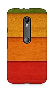 Amez designer printed 3d premium high quality back case cover for Motorola Moto G3 (Strips of colored wood)