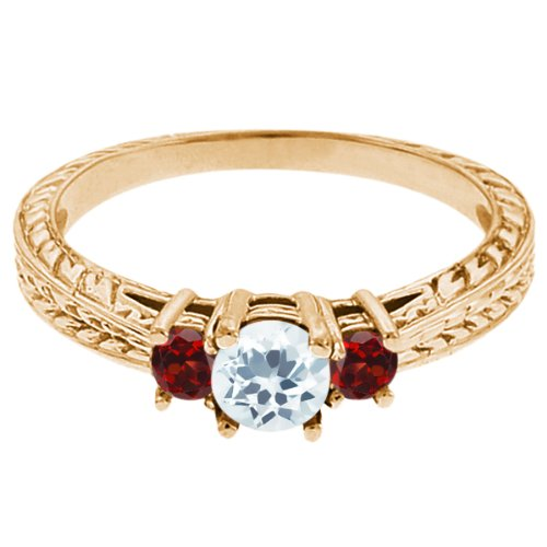 0.57 Ct Round Sky Blue Topaz Red Garnet 18K Yellow Gold 3-Stone Ring