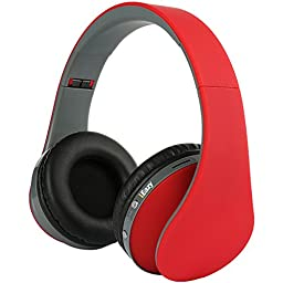 iEazy Foldable Wireless Built in Mic Bluetooth Headphone, Red