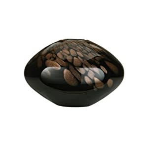 Premier Housewares Glass Sphere Vase with Gold Shimmer - Black