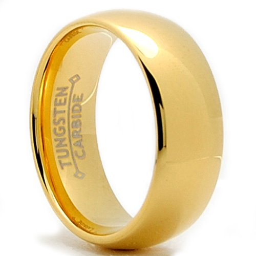 7MM 18K Gold Plated Dome Tungsten Ring Wedding Band Sizes 6 to 13
