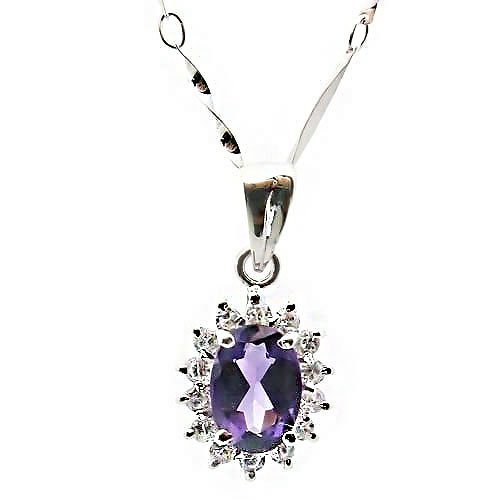 Tungsten Love Natural Amethyst & Cz Diamond Pendant Necklace 925 Silver