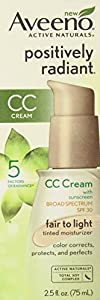 Aveeno Positively Radiant CC Cream SPF 30, Fair to Light Tinted Moisturizer, 2.5 Ounce