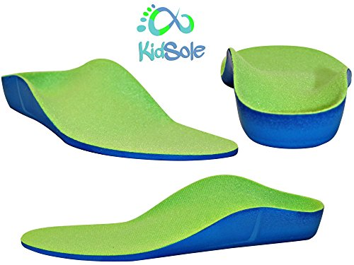 Neon Fix Premium Grade Orthotic Insole by KidSole. Revolutionary Soft and Sturdy Orthotic Technology For Children With Foot Development Issues and Flat Feet and Arch Support Issues (3 4 Shoe Inserts compare prices)