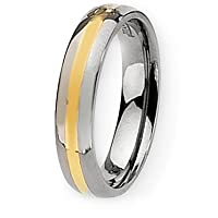 Chisel 14k Gold Inlaid Polished Titanium Ring (5.0 mm) With Wood Box - Size 8.5