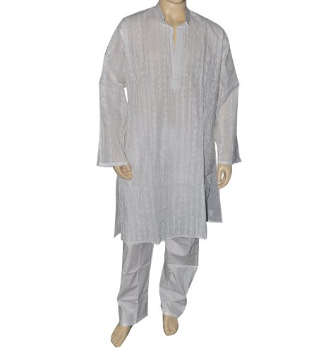 Men Cotton Dress White Chikan Kurta from India Chest Size: 121.92 cms