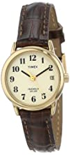 Timex Womens T20071 Easy Reader Brown Leather Strap Watch