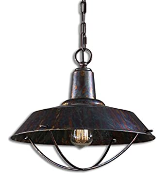 style distressed metal hardware light fixture pendant island lighting