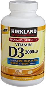 Kirkland Signature Maximum Strength Vitamin D3 2000 I.U. 600 Softgels,  Bottle