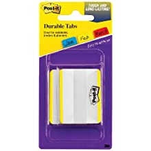 Post-it Tabs with On-the-Go Dispenser, 2-Inch Solid, Yellow, 25-Tabs/Dispenser, 2-Dispensers/Pack