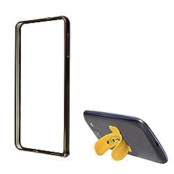 DMG Luxurious Aluminium Metal Bumper Case For Samsung Galaxy Alpha SM-G850Y (Black) + Touch U Silicone Stand