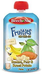Beech-Nut Fruities On The Go Puree, Banana Pear sweet Potato, 4 Ounce (Pack of 16)