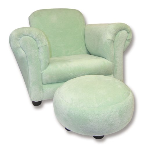 Trend Lab Velour Club Chair and Ottoman Set, Sage Green