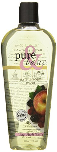 Pure and Basic Natural Bath and Body Wash, Fuji Apple Berry, 12 Fluid Ounce Basic Natural Bath