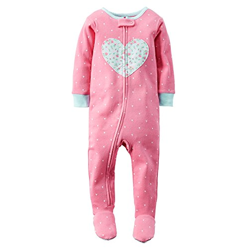 Carter's Little Girls One Piece Cotton Footie PJs (5T, Pink - Floral Heart)