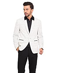 B & W Print with Contrast Detail Slim Fit Jacket Small