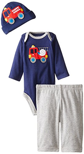 Gerber Baby-Boys Newborn 3 Piece Bodysuit Cap and Pant Set, Fire Truck, 24 Months