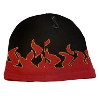 Paris Accessories Mens Black & Red Flames Beanie Fire Stocking Cap Winter Hat
