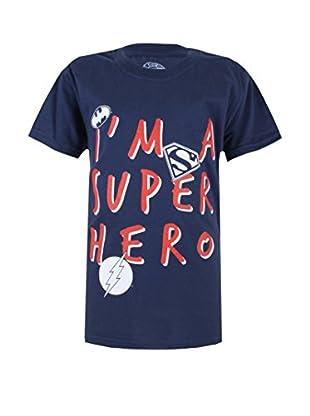 DC COMICS Camiseta Manga Corta Superhero (Azul Marino)