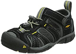 KEEN Seacamp II CNX Sandal (Toddler/Little Kid/Big Kid),Black/Yellow,4 M US Big Kid