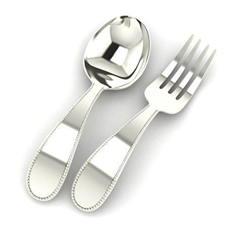 Krysaliis Beaded Sterling Baby Spoon and Fork Set, Silver