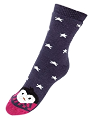 Cotton Rich Terry Penguin Slipper Socks