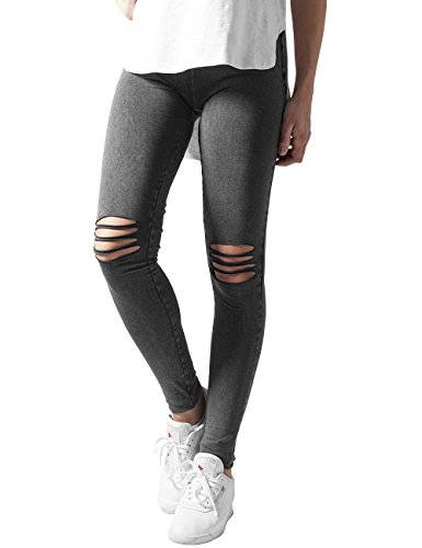Urban Classics Ladies Cutted Knee, Leggings Donna, Schwarz (Acid Black 706), Small