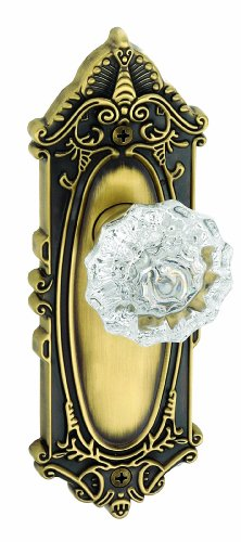 Single Dummy Vintage Brass GEOBUR-20-VB Grandeur Georgetown Rosette with Burgundy Crystal Knob