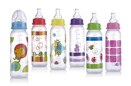 Nuby Printed Non-Drip Bottle, 8 Ounce, Colors May Vary (Printed Baby Bottles compare prices)