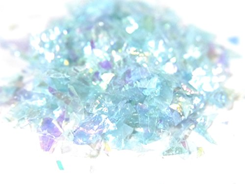 紗や工房 クラッシュホログラム 約0.3g オーロラカラー*スカイブルー ラメフィルム アートパーツ 樹脂 レジン封入 デコ ネイル用品 材料